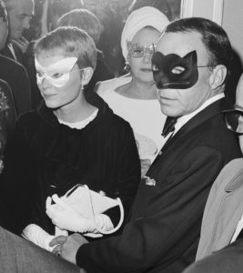 Frank Sinatra and his wife, actress Mia Farrow, as they arrive at Truman Capote's Black and White Ball.