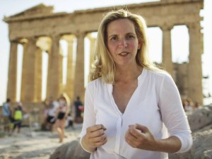 Dr Amanda Foreman at the Acropolis. (Credit: BBC/Silver River)