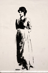 Photo: Stencil of Mary Wollstonecraft by Stewy on Newington Green wall from Rex Features