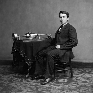 Thomas Edison, circa 1870s, with his phonograph PHOTO: EVERETT COLLECTION