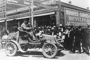 In 1903, physician Horatio Nelson Jackson (at wheel) and his driving partner Sewall K. Crocker became the first men to drive an automobile across the U.S. PHOTO: ISC IMAGES & ARCHIVES/GETTY