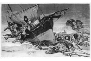 Engraving showing the end of Sir John Franklin's ill-fated Arctic expedition of 1845 entitled 'They Forged the last link with their lives'. This engraving was taken from a painting by W. Thomas Smith exhibited in the Royal Academy in 1896. PHOTO: MARY EVANS/ILLUSTRATED LONDON NEWS LTDT/EVERETT COLLECTION
