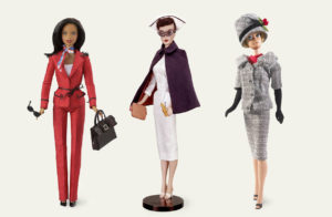 From left, Presidential Candidate Barbie (2004), Registered Nurse Barbie (1961) and Career Girl Barbie (1963).
